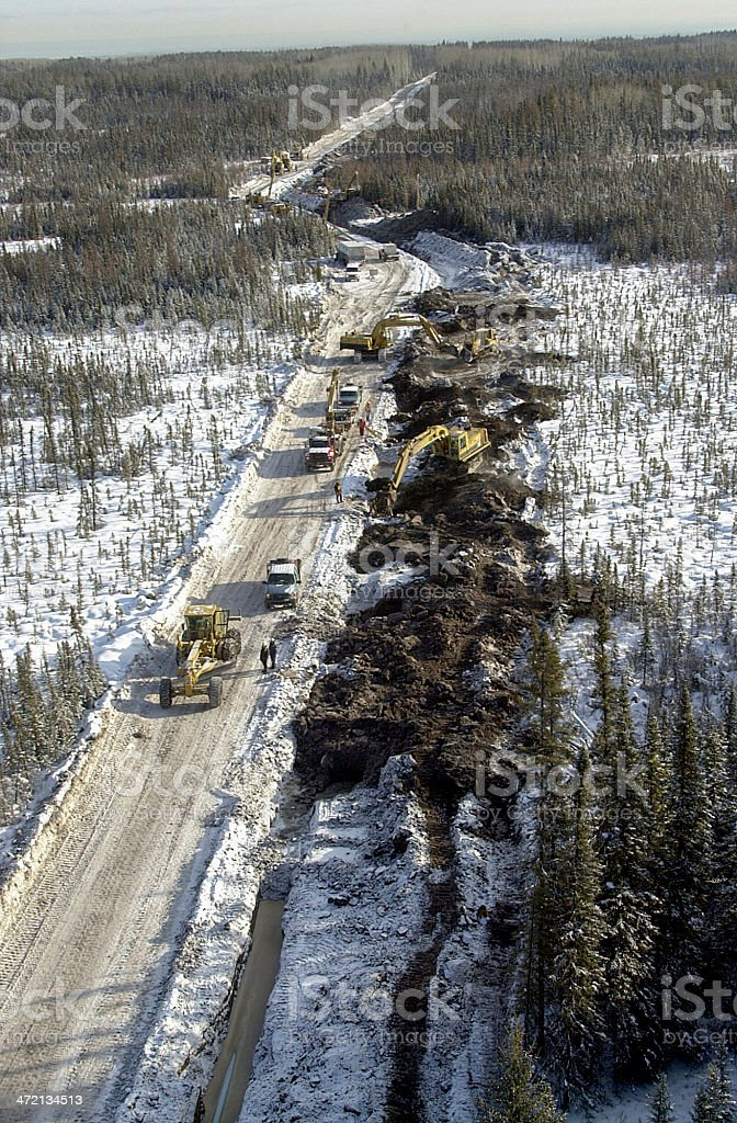 Oil pipeline construction aerial view - Canada royalty-free stock photo