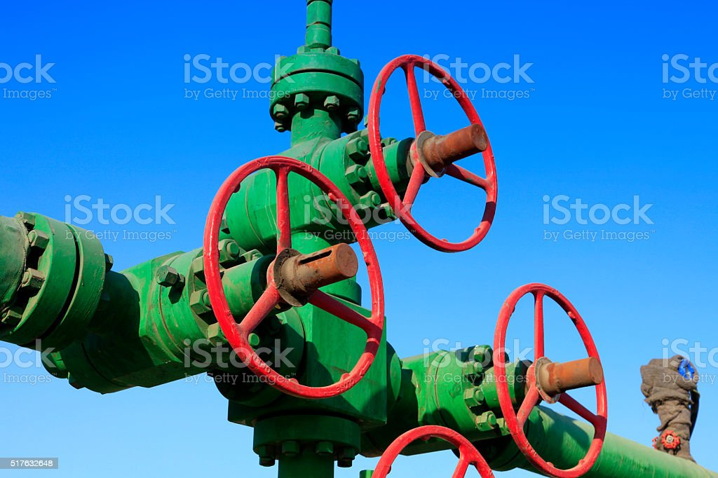 Oil pipeline valves stock photo