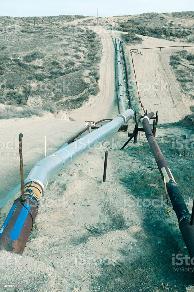 Oil pipelines to refinery in rural central California stock photo