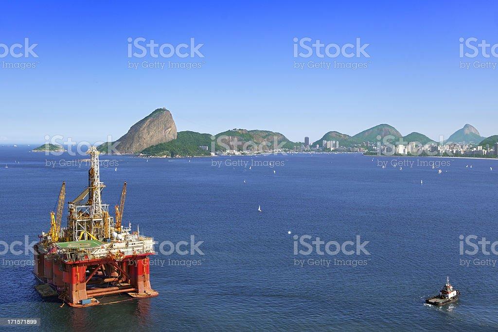 Oil platform anchored in Rio de Janeiro stock photo