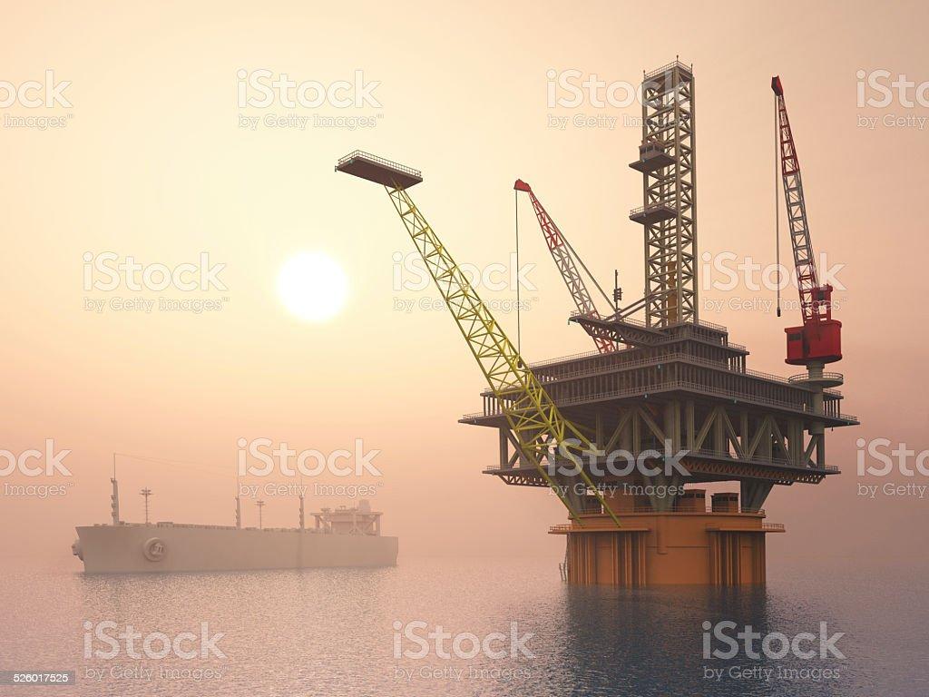 Oil Platform and Supertanker stock photo