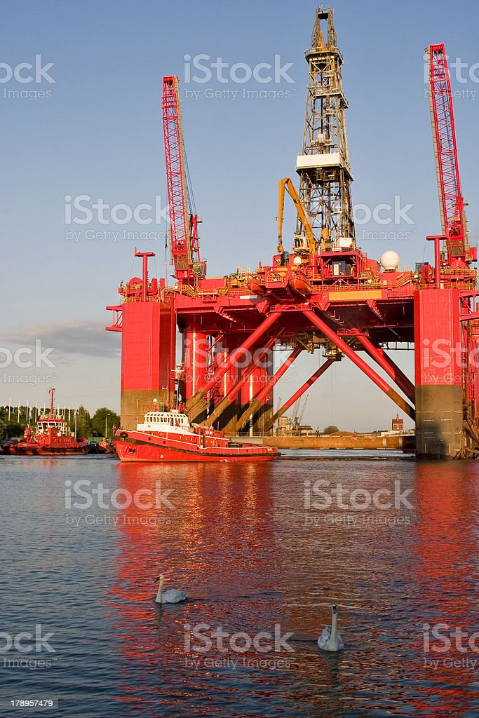 Oil Platform and Swan royalty-free stock photo
