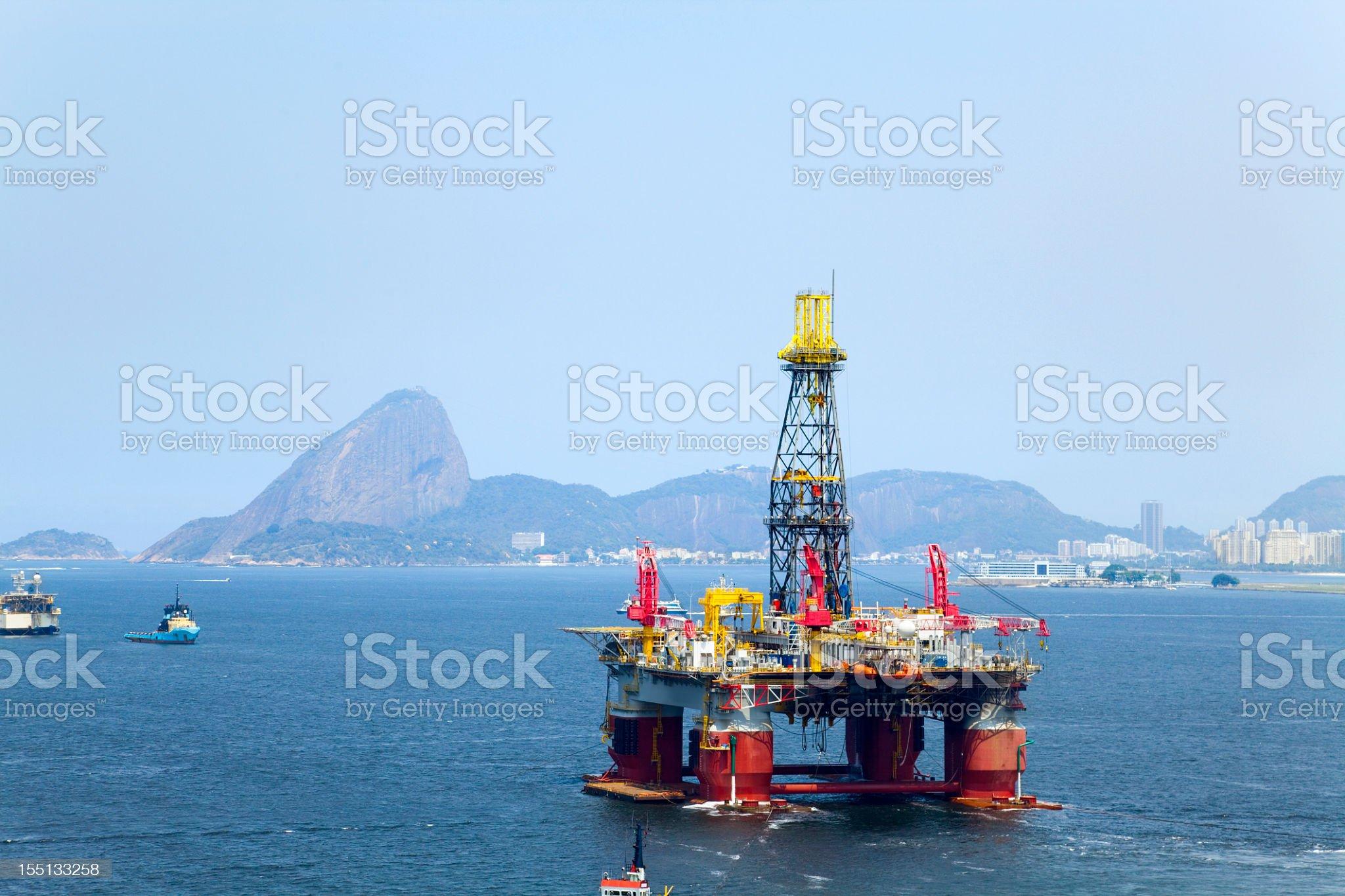 Oil platform in Rio de Janeiro, Brazil royalty-free stock photo