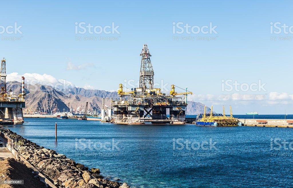 Oil platform in Tenerife stock photo