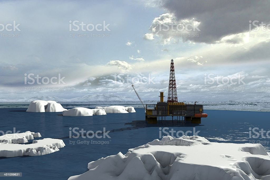 Oil platform in the Arctic Ocean stock photo
