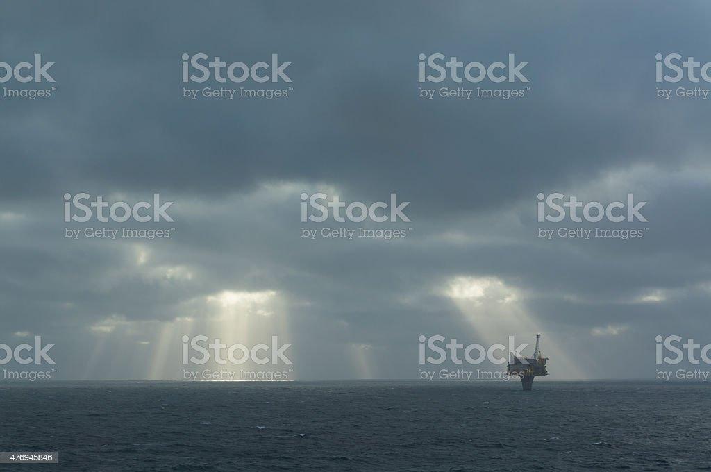 oil platform in the North Sea stock photo