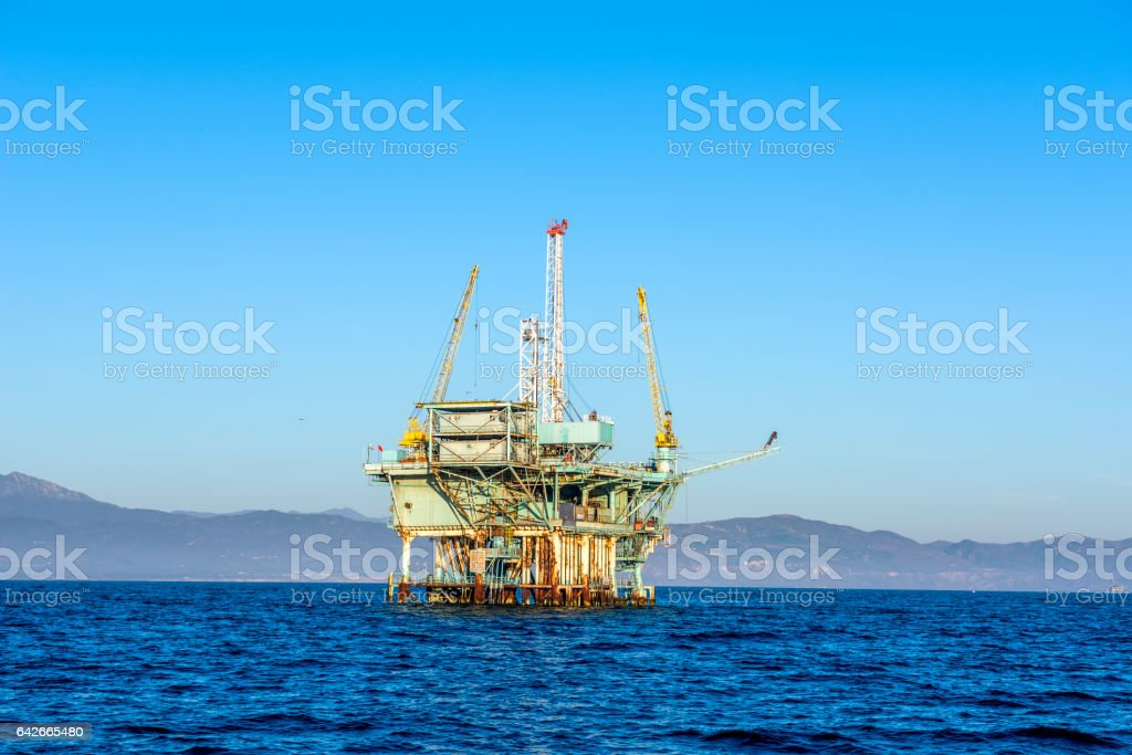 Oil Platform in the Pacific Ocean stock photo