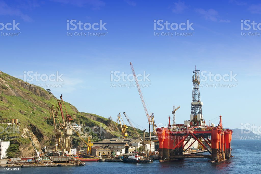 Oil platform in the shipyard stock photo