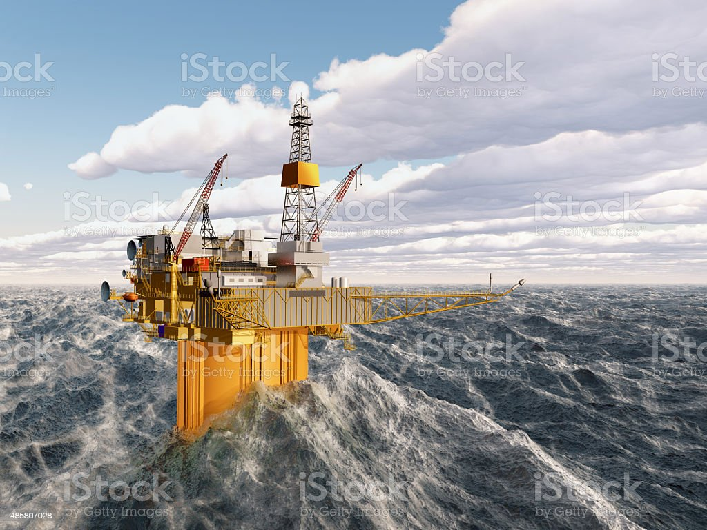 Oil platform in the stormy ocean stock photo