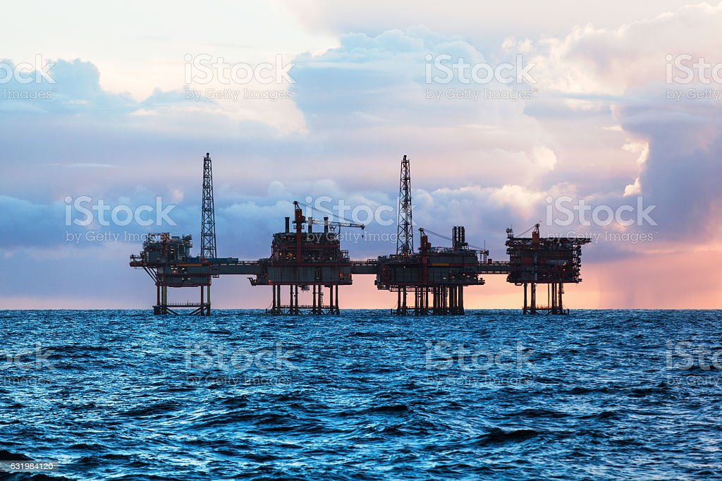 Oil platform in the USA stock photo