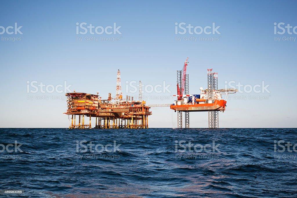 Oil platform on sunny day stock photo