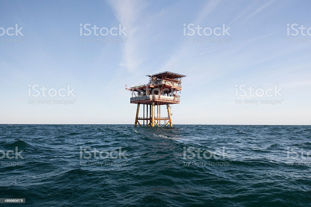 Oil platform on sunny day stock photo
