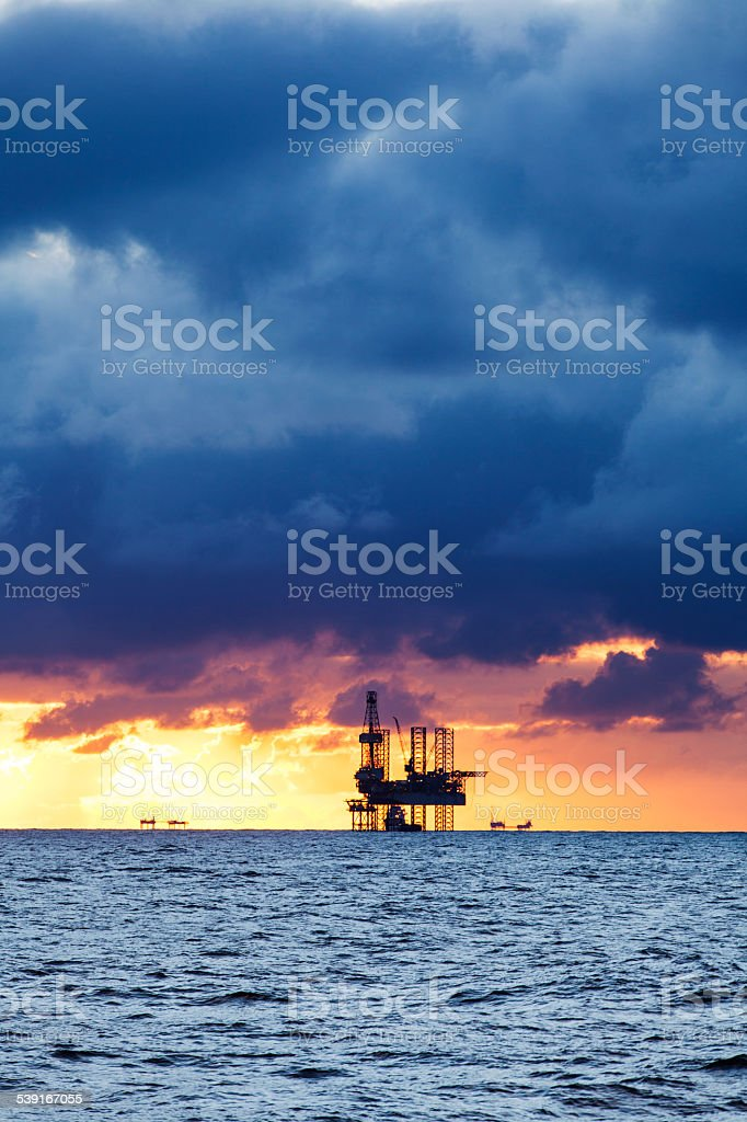 Oil platform on the North sea stock photo
