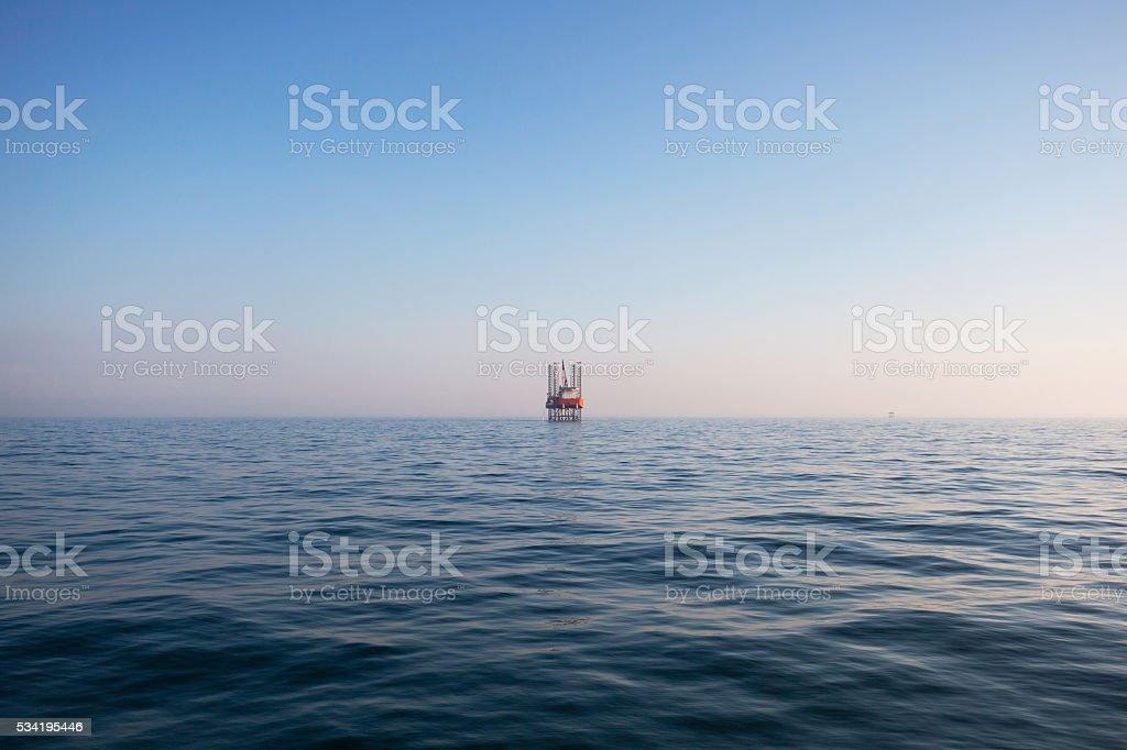 Oil platform on the sea stock photo