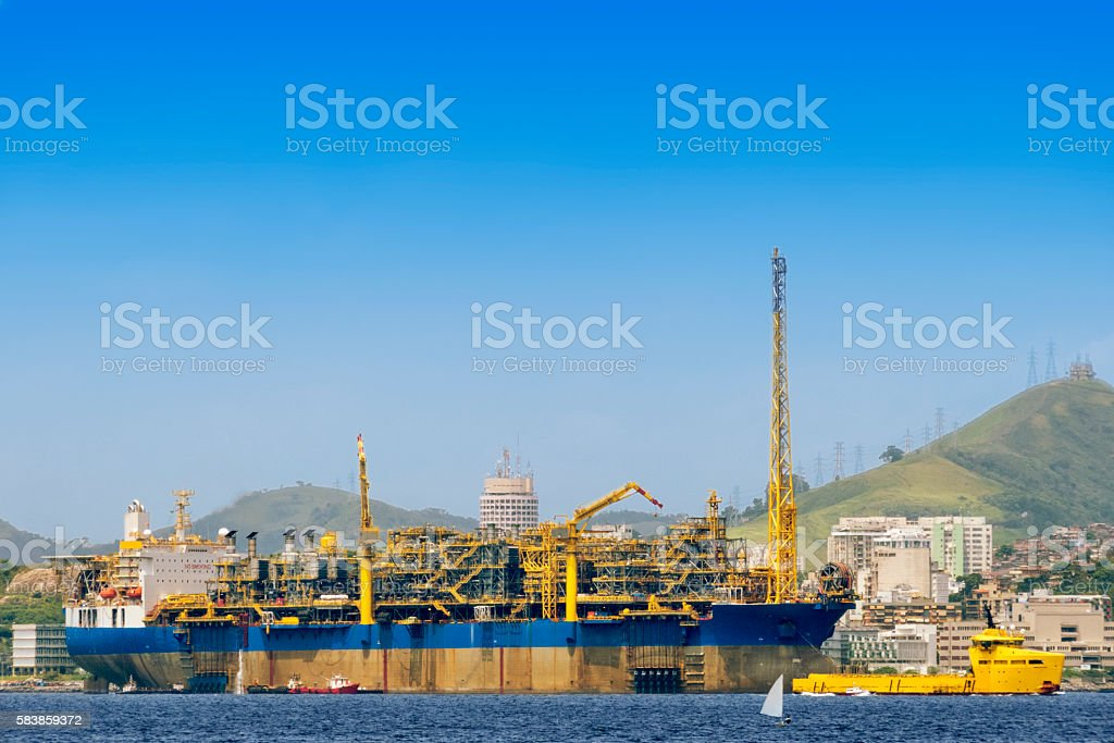 Oil platform ship stock photo
