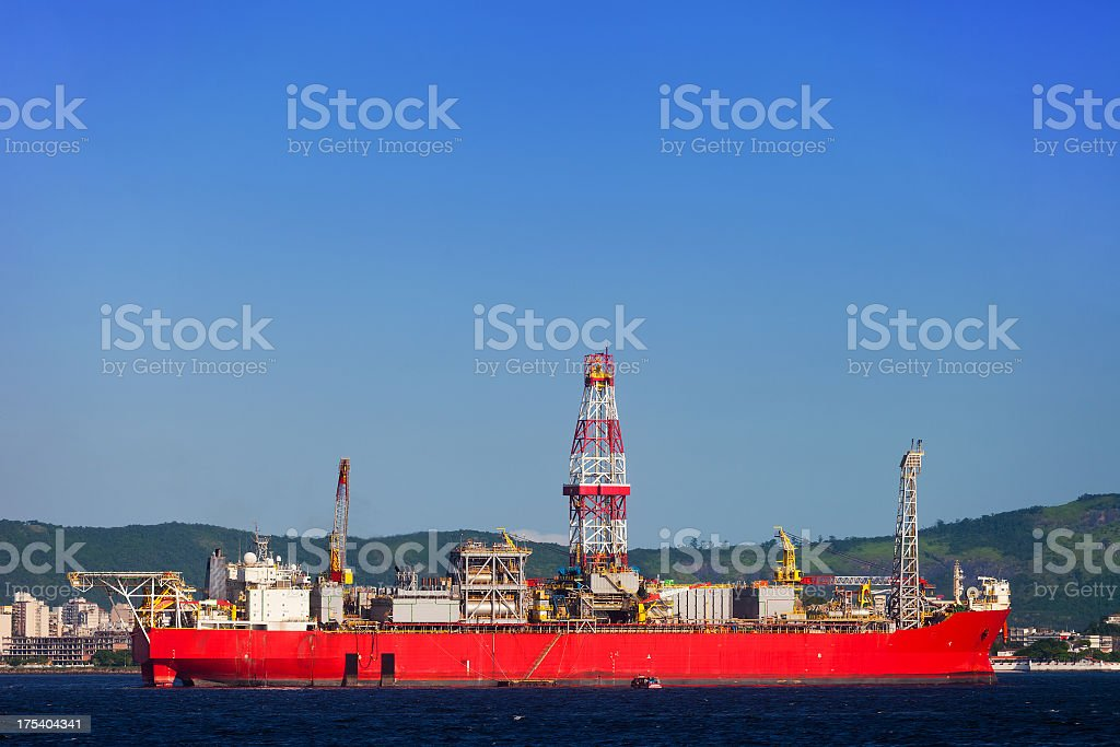 Oil platform support ship stock photo