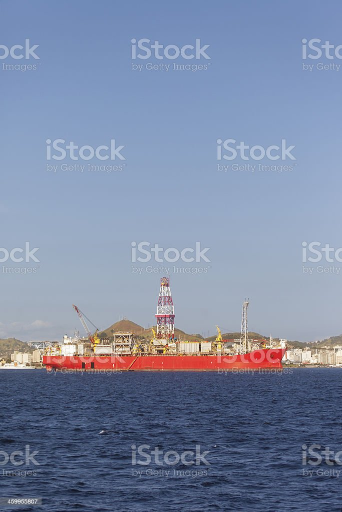 Oil platform support ship royalty-free stock photo