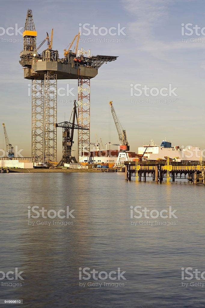 Oil platform under construction royalty-free stock photo