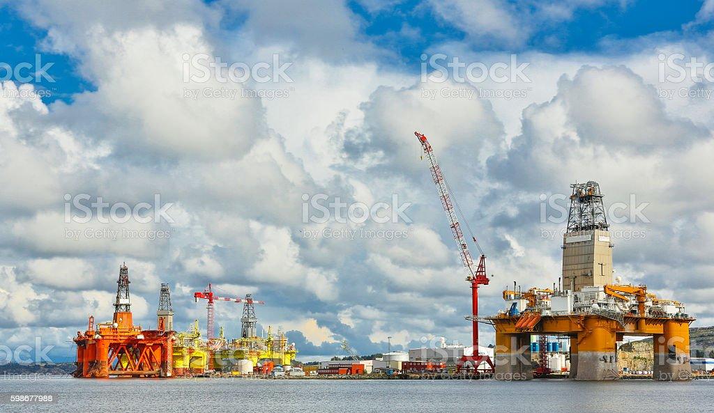 Oil platform under maintenance. Bergen, Norway. stock photo