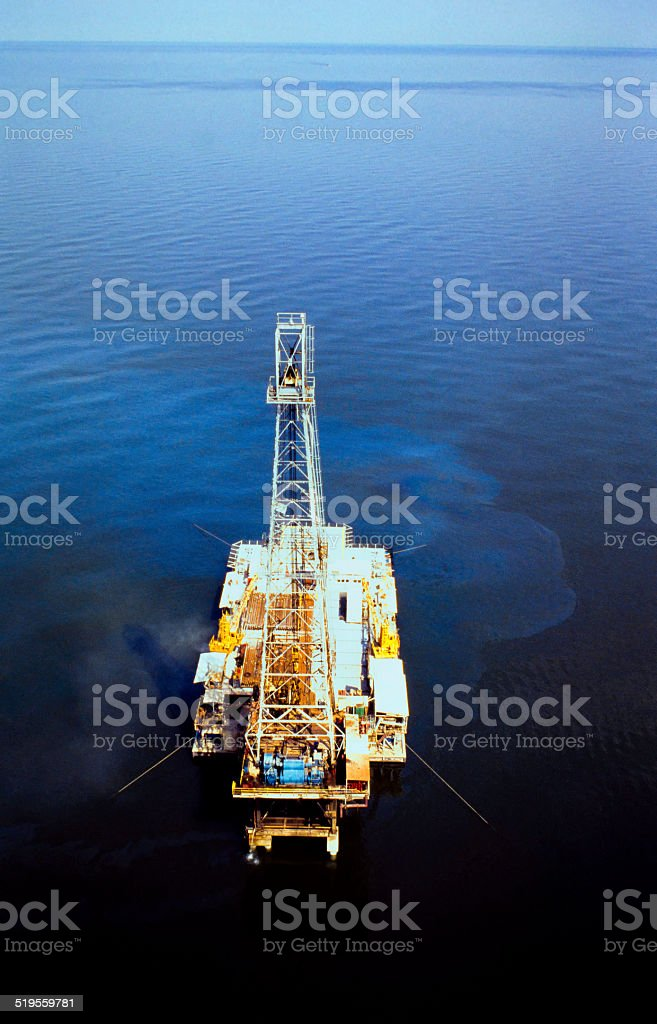 Oil Platform With Drilling Rig stock photo