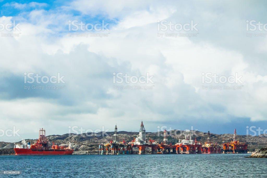 Oil platforms. Mongstad, Norway. stock photo