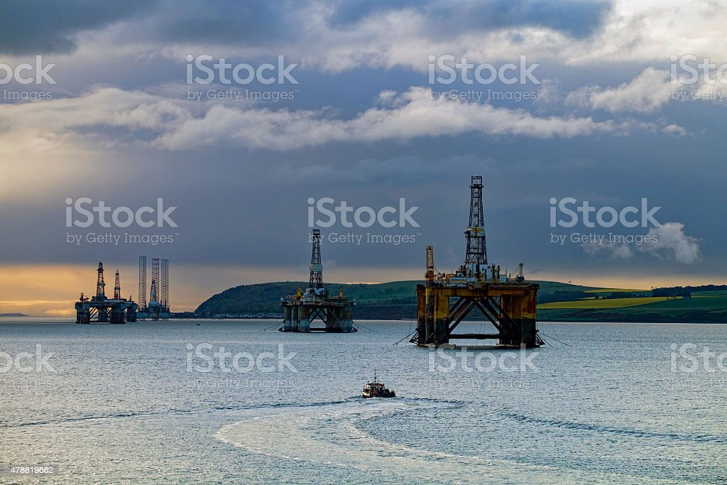 Oil Platforms Moored in Cromarty Firth Near Invergordon, Scotland stock photo