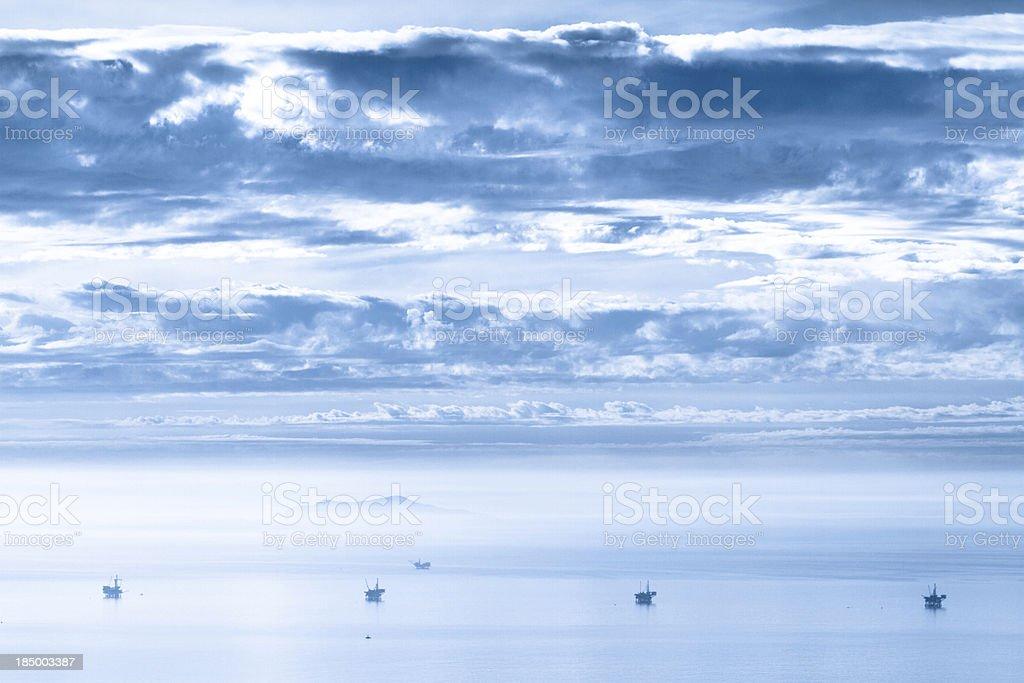 Oil platforms off the coast of Santa Barbara California stock photo