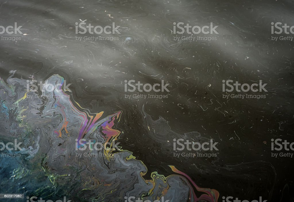 Oil pollution in the water. stock photo