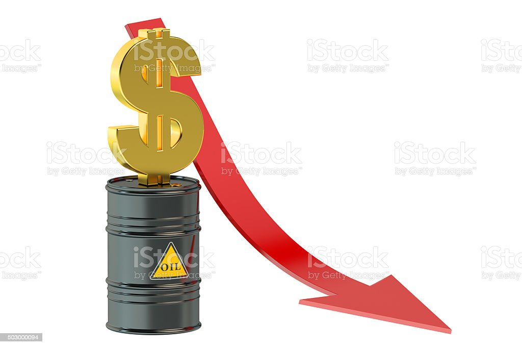 Oil price falling concept stock photo