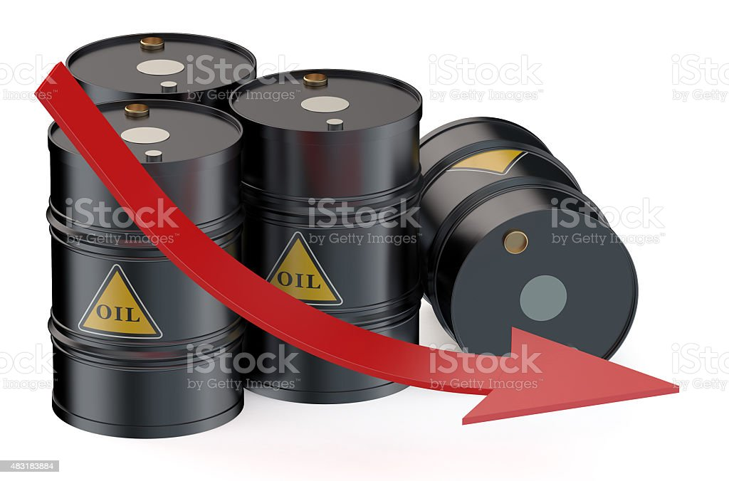 Oil price falling concept with oil barrels stock photo