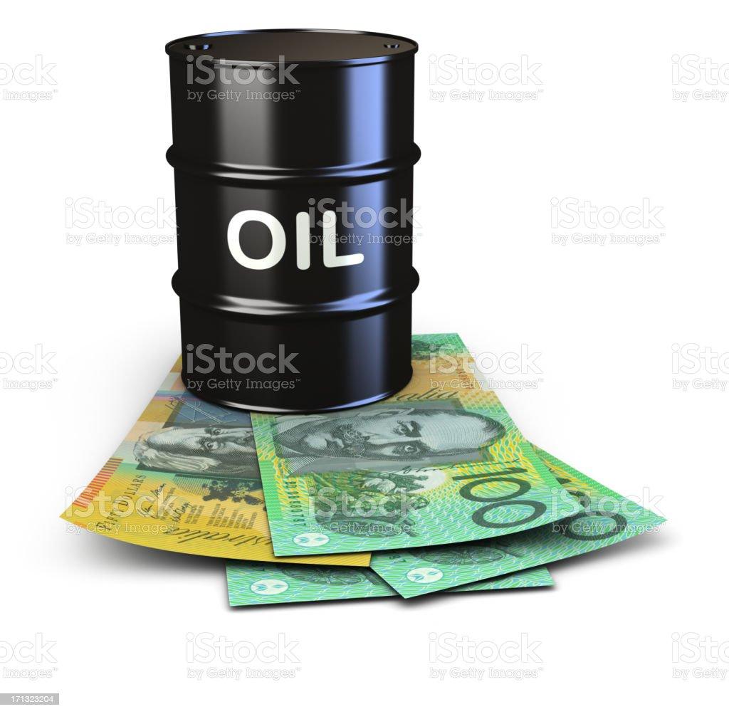Oil prices, Australian Dollars. stock photo