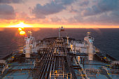 Oil product tanker during beautiful sunset.