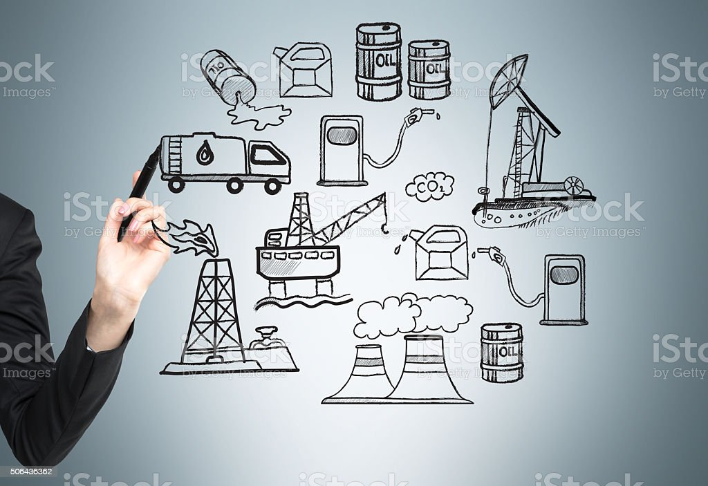 Oil production, environmental pollution stock photo