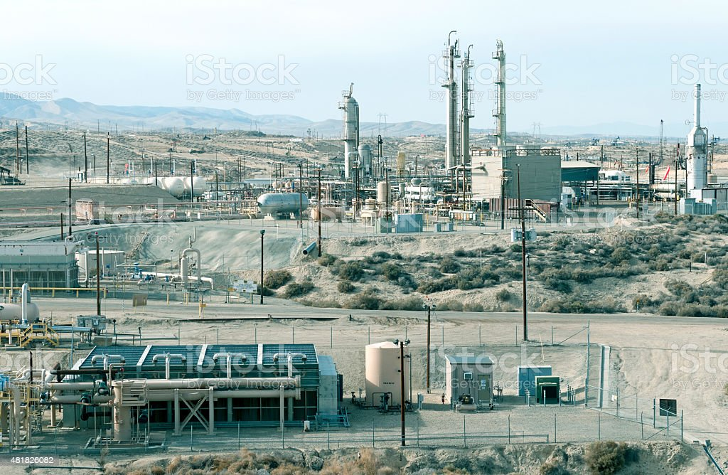 Oil production in mountains of central California stock photo