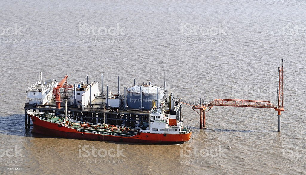 Oil production into the sea from above. royalty-free stock photo