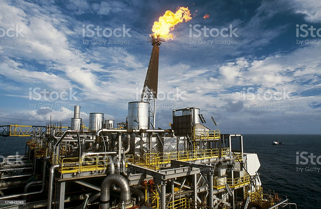 oil production plataform stock photo