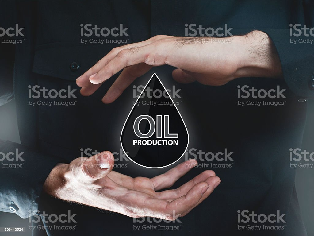 Oil production / Touch screen concept (Click for more) stock photo