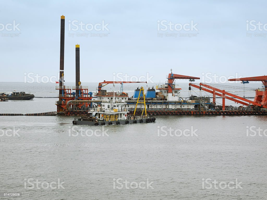 Oil Production Vessels and Supply Ships stock photo