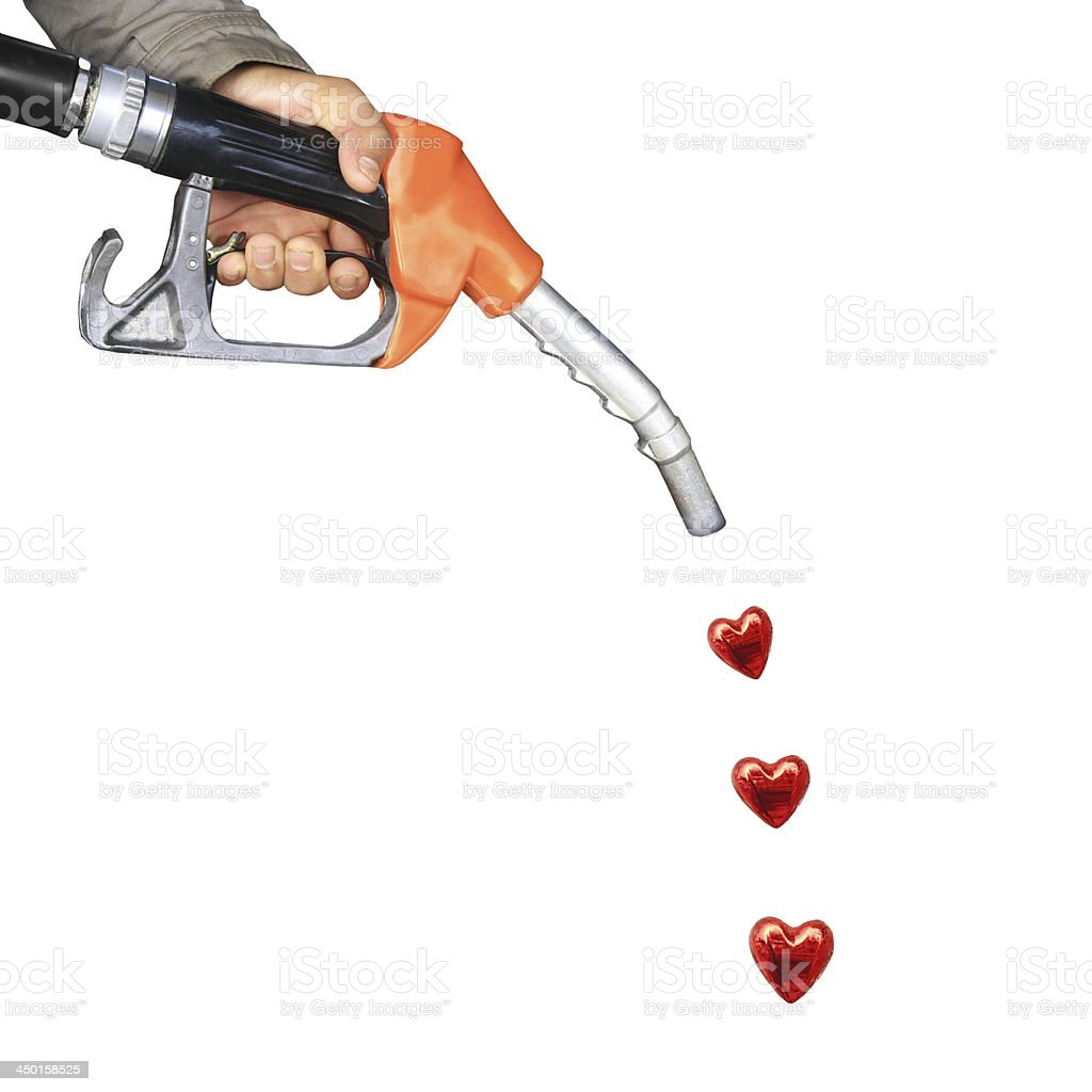 oil pump and heart stock photo