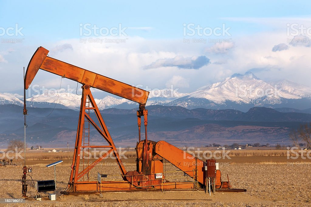 Oil Pump and Long's Peak, Colorado stock photo