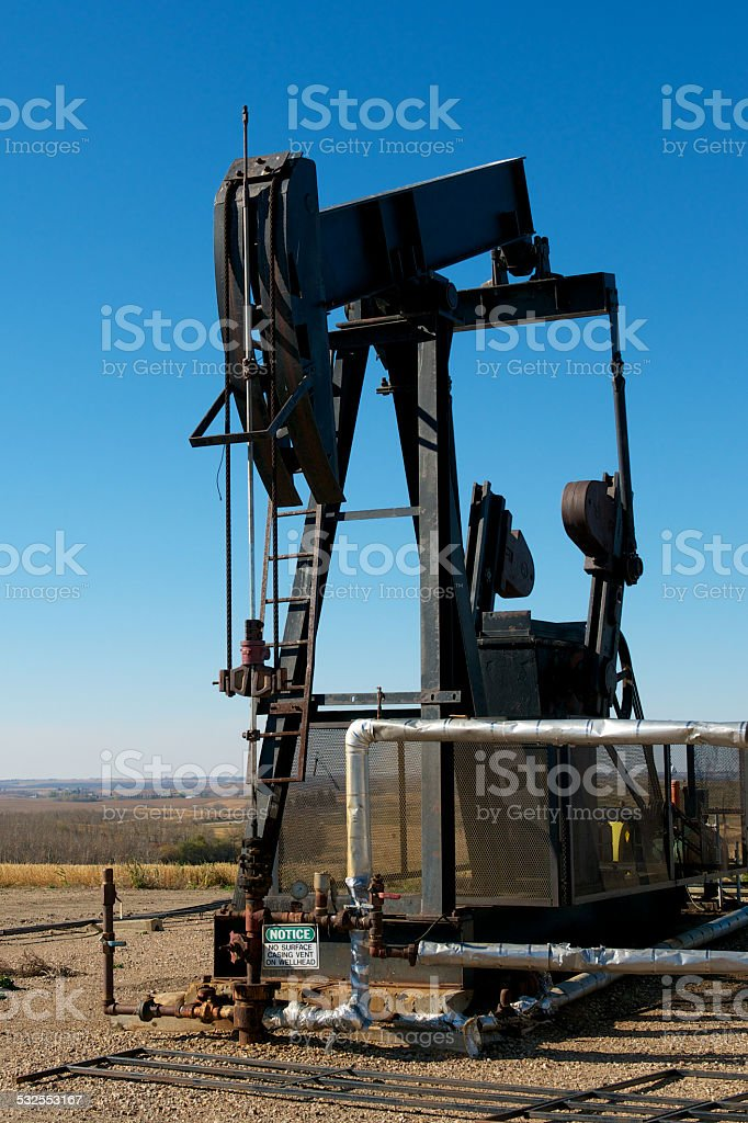 Oil Pump and Pipeline stock photo