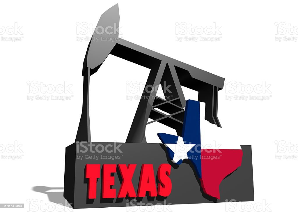 Oil pump and Texas map stock photo