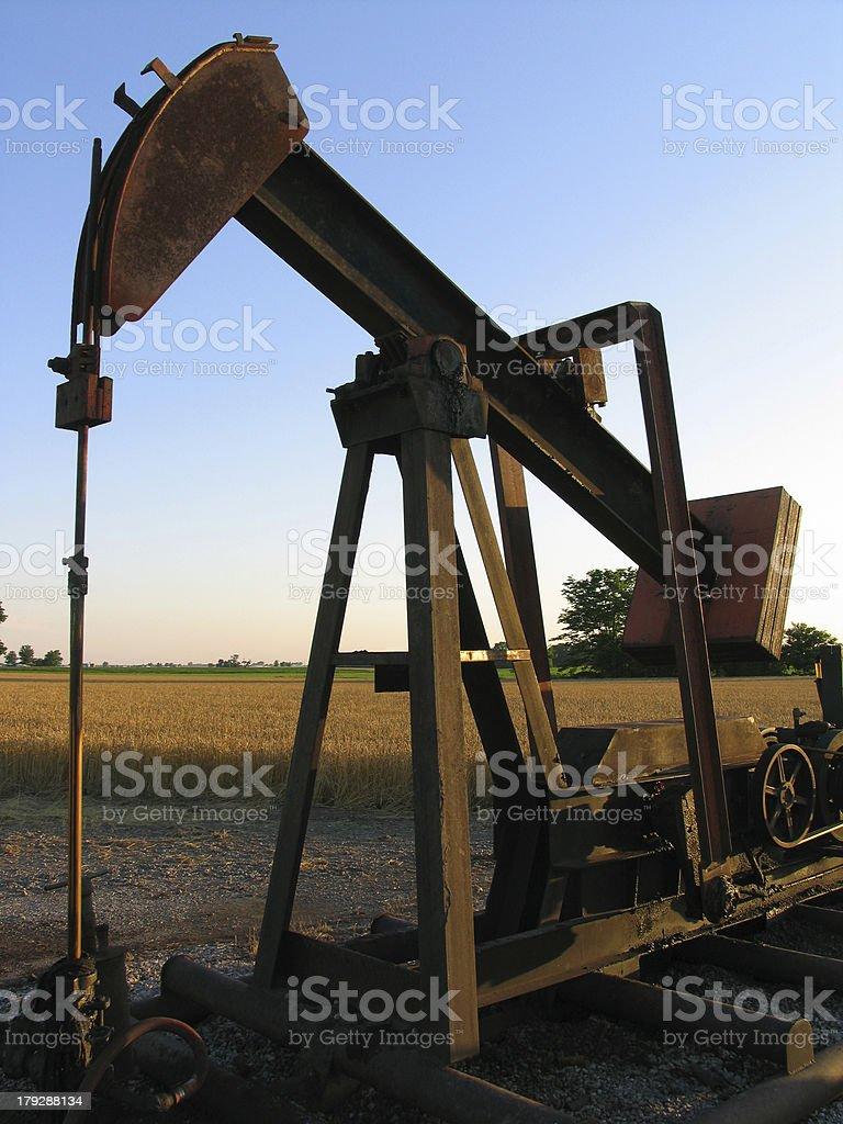 Oil Pump at Dusk stock photo