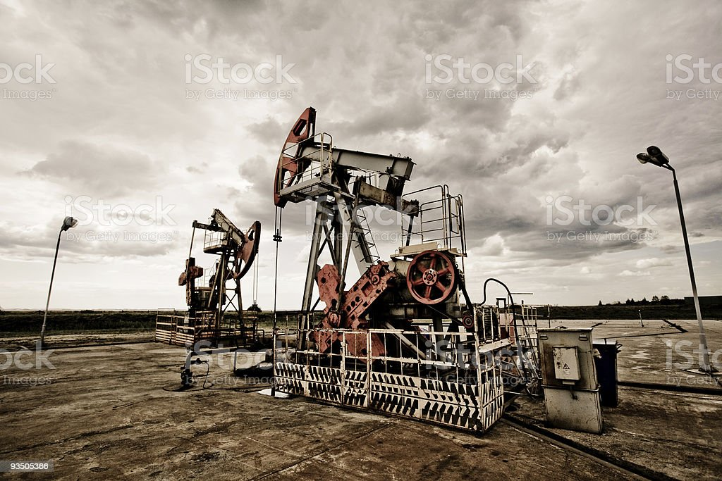 Oil pump in the field royalty-free stock photo