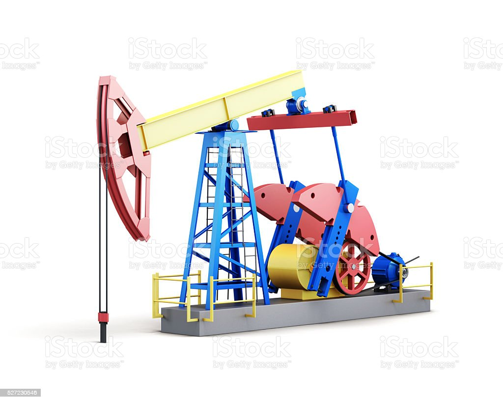 Oil pump isolated on white background. 3d rendering stock photo