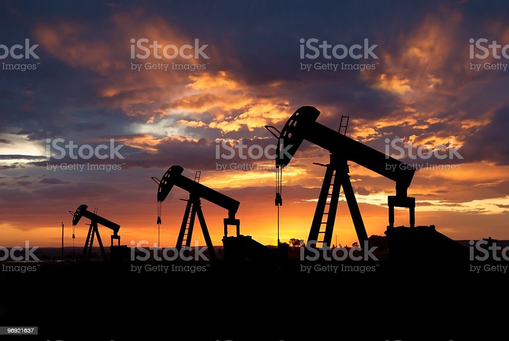 Oil Pump Jack at Dawn royalty-free stock photo
