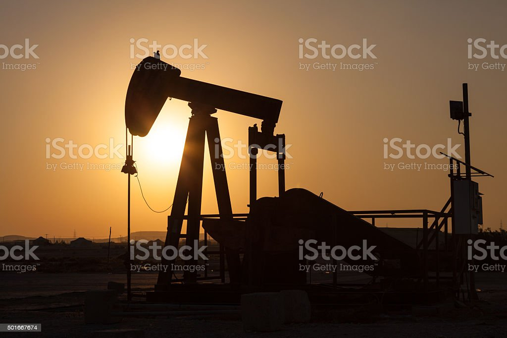Oil pump. Oil industry equipment stock photo