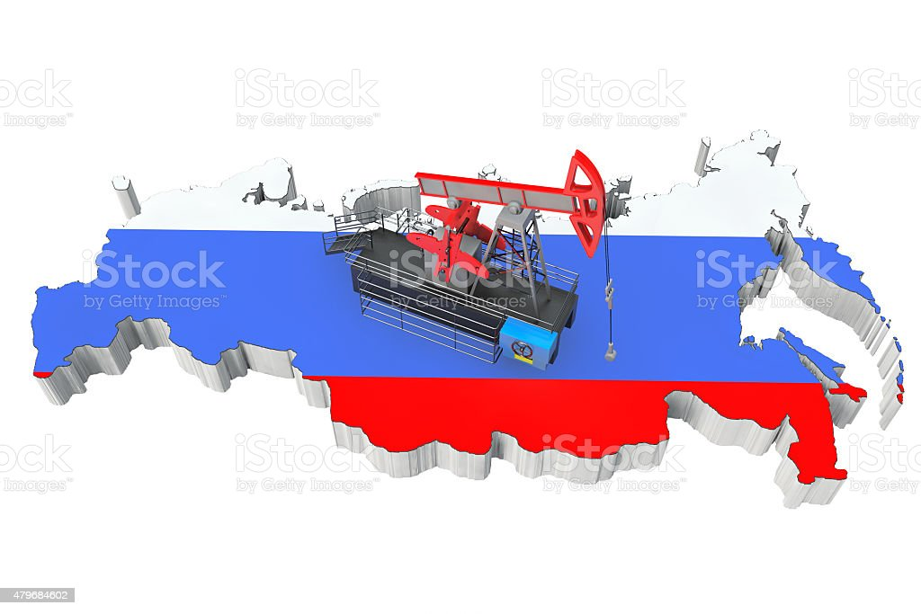 Oil Pump over Russia Map stock photo