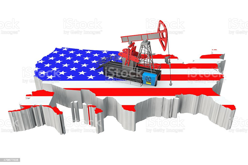 Oil Pump over United States Map stock photo