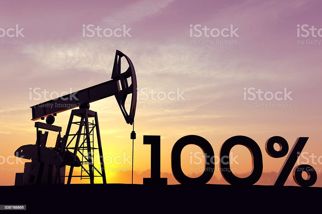 Oil pump with the word 100% stock photo